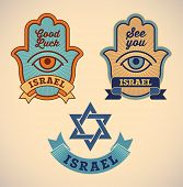 Set of retro-styled Israel symbols. Editable vector illustration.