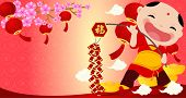 Happy chinese new year ,cartoon boy