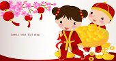 Happy chinese new year ,cartoon children boy girl