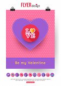 Valentines Day brochure template and set of flat valentines day icons. Abstract typographical flyer