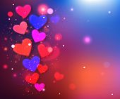Happy Valentine's day  glow holiday background with shining soft hearts and  blurred bokeh lights wi