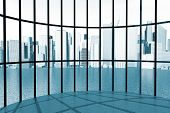 Skyscraper Round Windows 3D Render Interior