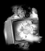 OLD EXPLODING TELEVISION SET