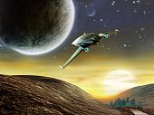stock photo of spaceships  - Futuristic spaceship traveling in a distant solar system - JPG