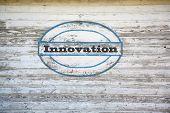 Innovation sign on shed side