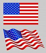 American flag set on grey.