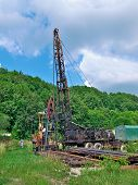 stock photo of oil drilling rig  - Mobile oil rig drilling a new oil well - JPG