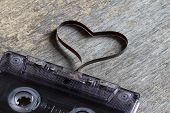 picture of magnetic tape  - Audio cassette with heart magnetic tape abstract love concept