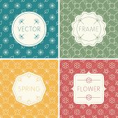 Set of outline design frames on seamless backgrounds with flowers.