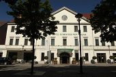 WEIMAR, GERMANY - JULY 27, 2013: Hotel Russischer Hof (The Russian Court) in Weimar, Germany. The hotel was build by the order of Grand Duchess Maria Pavlovna of Russia.