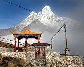 Buddha In Pangboche Monastery And Mount Ama Dablam
