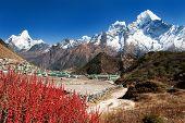 Khumjung Village And Beautiful Himalayas