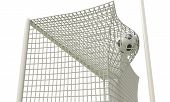 Football Ball Flies Into The Net Gate Close-up On A White