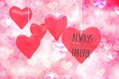 pic of girly  - always and forever against digitally generated girly heart design - JPG