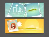 Website header or banner design for vacations.