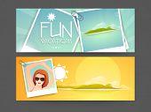 Website header or banner design for vacations.