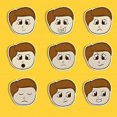 Set of different facial expressions with a little boy cartoon on yellow background.