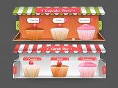 Website header or banner creative design for cupcake store.