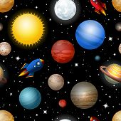 seamless pattern with planets and rockets