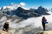 View Of Everest From Gokyo Ri With Tourist