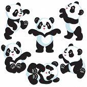 set with cartoon panda