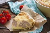 pie with cauliflower, zucchini and cheese