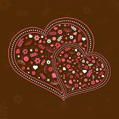 Happy Valentines Day celebration with flowers decorated hearts on brown background.