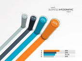 Creative business infographics layout with statistics or growth chart for official presentation on grey background.