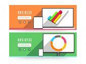 Business infographic website header or banner set.