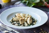 picture of sauteed  - Lemon Chicken with Sauteed Chard and Pine Nuts - JPG