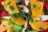 Waldorf salad with orange close up