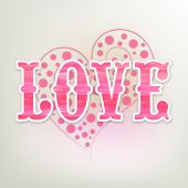 Pink text Love on creative heart shape for Happy Valentines Day celebration.