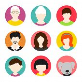 pic of avatar  - Colorful set of a happy family avatars with pet dog on white background - JPG