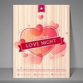 Pink hearts decorated flyer, banner or template for love night party celebration.
