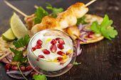 Chicken appetizer on serving platter
