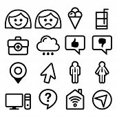 Website menu line, stroke icons set - user, computer, app