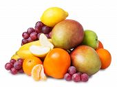 Fresh fruits isolated on a white background. Set of differentf fresh fruits.