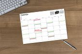 Calendar Deadline On Wooden Table