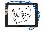 Football Strategy And Whistle On Digital Tablet