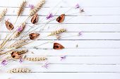Dried flowers on color wooden planks background