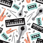 Seamless musical instruments illustration cool retro music theme background pattern in vector
