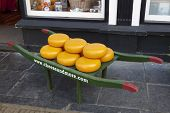 DELFT,NETHERLANDS - SEPTEMBER 17, Cheese display in the street