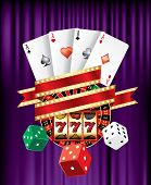 casino and gambling icons on purple velvet with blank banner