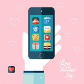 Valentines day icons set on smart phone screen. Color vector illustration.