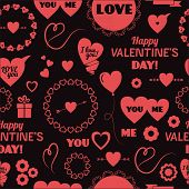 Seamless background vector happy Valentines Day
