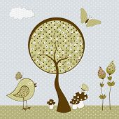 Cute Birds With Butterflies And Tree