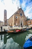 View Of Water Canal In Front Of Basilica Dei Frari