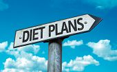 Diet Plans sign with sky background