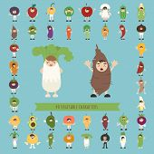 Set Of 40 Vegetable Costume Characters