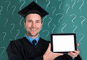 Graduate Man Showing Blank Digital Tablet